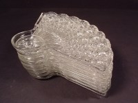 Vintage Fan Shape Diamond Imprint Glass Luncheon Plates ...