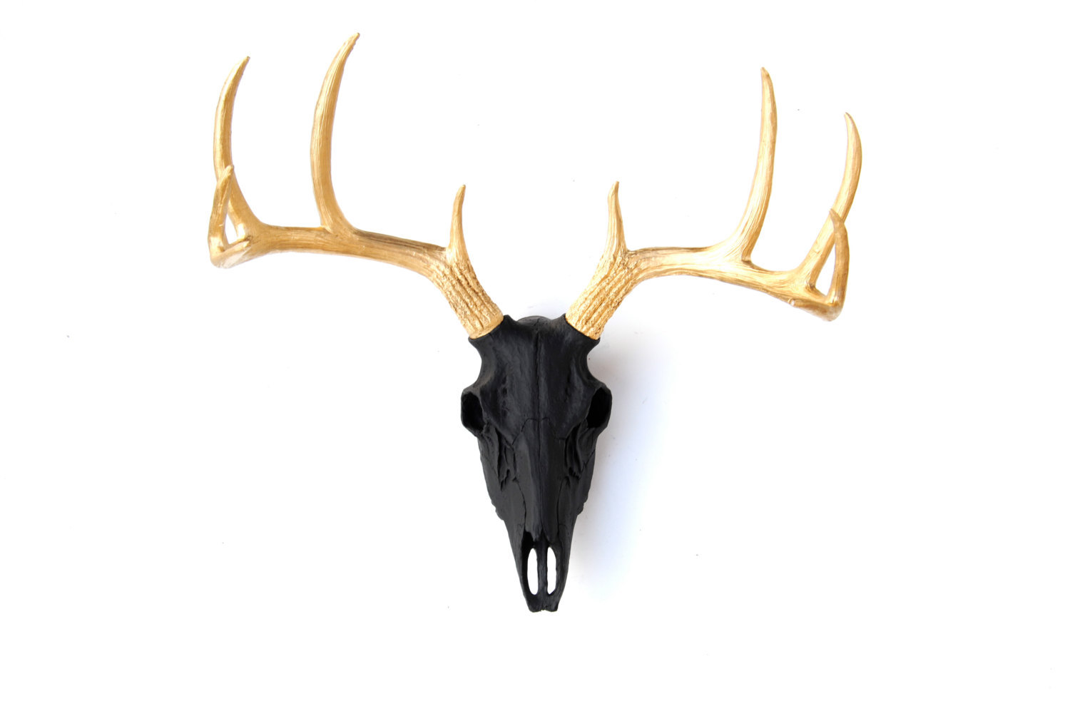 Fake Deer Skull And Antlers Faux Taxidermy Black Deer Skull Gold Antlers Wall