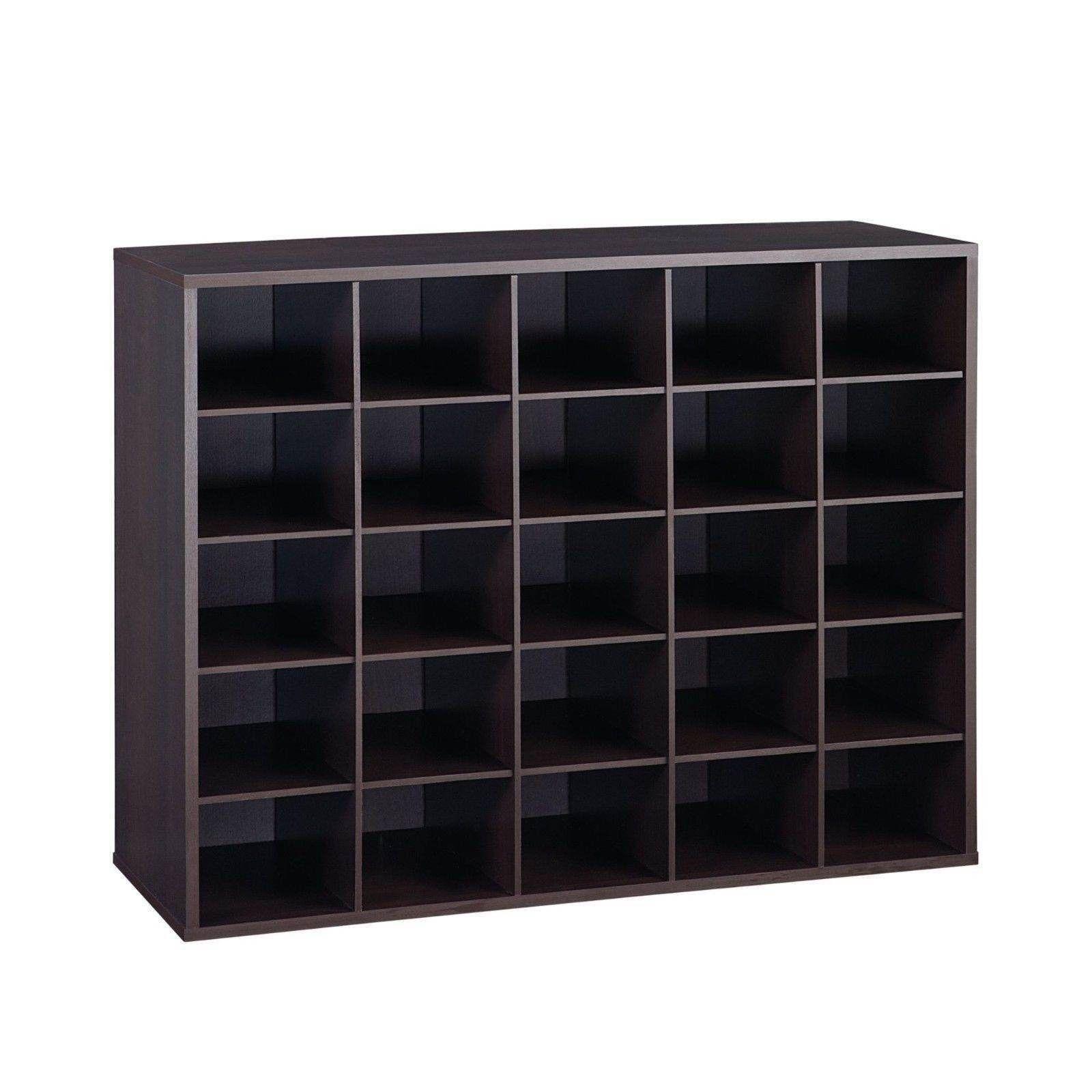 25 Pair Shoe Shelf Organizer Wooden Espresso Closet