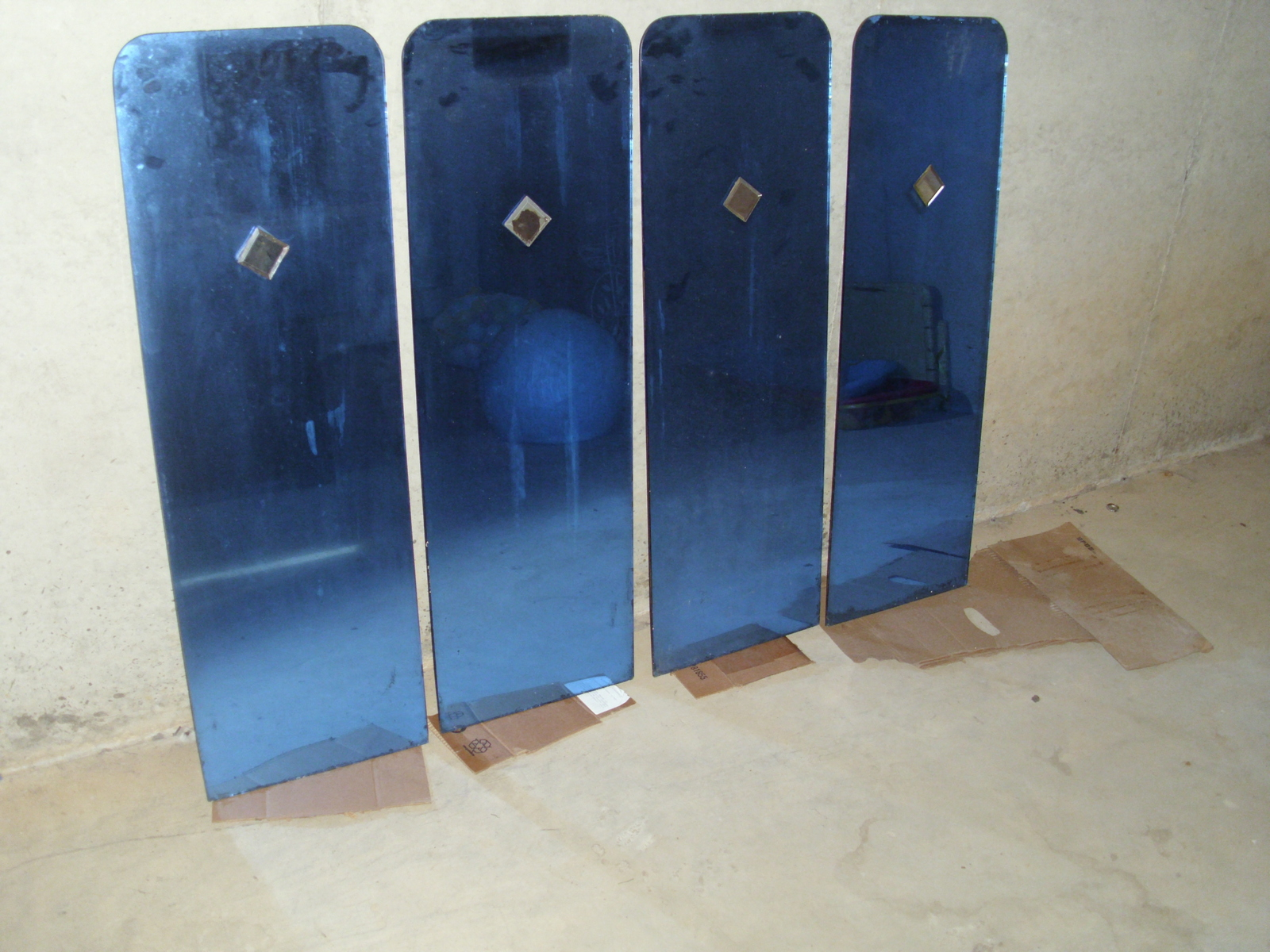 Art Deco Style & Light Set Of 4 Art Deco Blue Glass Mirrors And 50 Similar Items