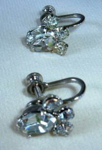 Vintage CZ Screw-back Screw Back Earrings - Other