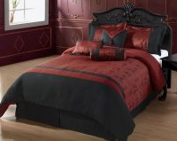 OYUKI - QUEEN Size Bed 7pc Comforter Set Burgundy Black ...