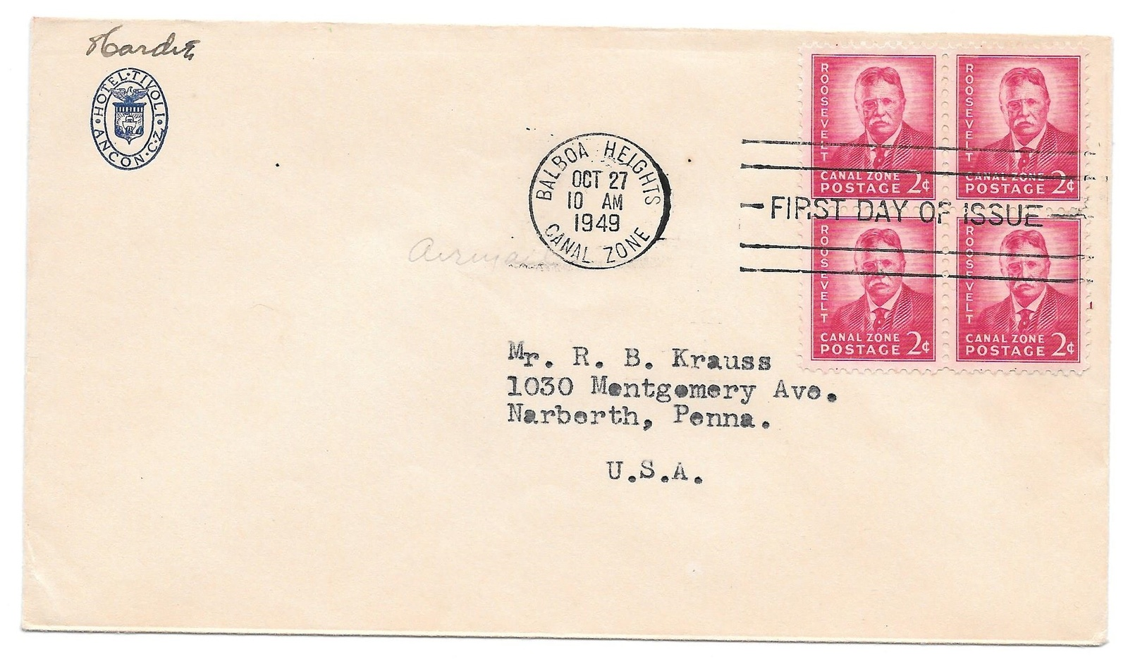 Tivoli Hotel Canal Zone Fdc Canal Zone 1949 Sc 138 Theodore And 20 Similar Items