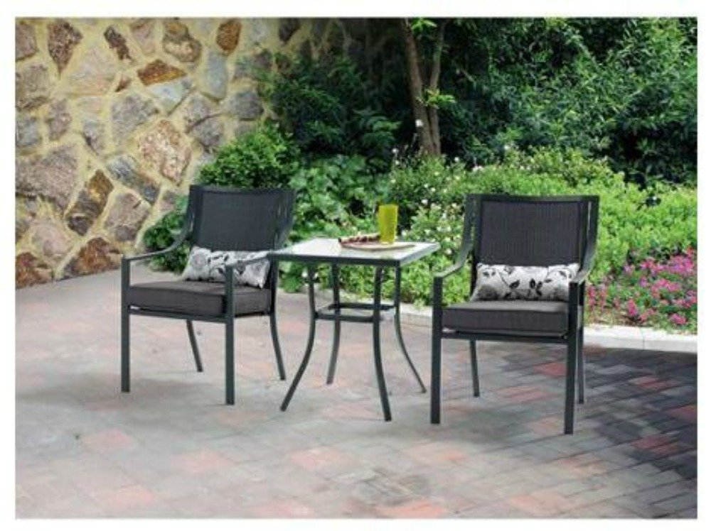 3 Piece Outdoor Patio Bistro Set Grey With And 50 Similar