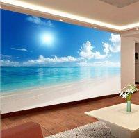 RELAXING 3D Calm Ocean Beach Blue Sky Wallpaper Mural Wall ...