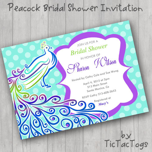Peacock Bridal Shower Invitations Invite You and 50 similar items