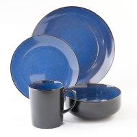 GIBSON Novabella Cobalt Blue/black 16 Piece Dinnerware SET ...