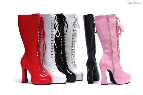 5 Inch Heel Knee Boots Women39s Size Shoe With Zipper Red