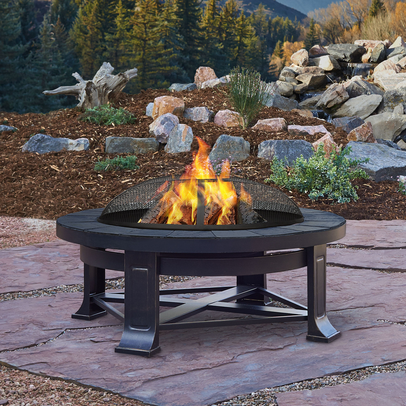 Real Flame Edwards 3375quot Outdoor Patio Deck Wood Burning