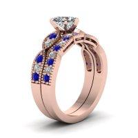Heart Shaped CZ Milgrain Weave Wedding Set W/ Blue ...