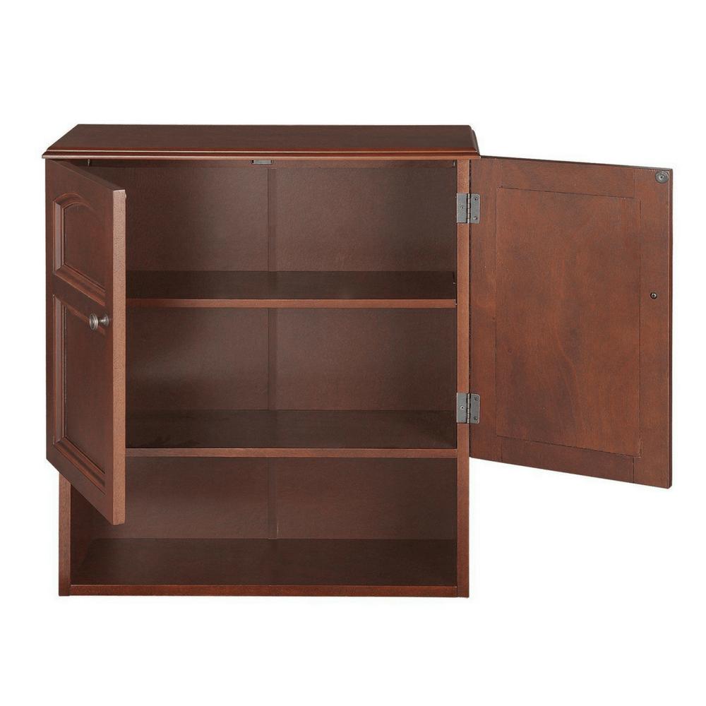Wall Mounted Cabinetbathroom Storage 3 Shelves Mahogany