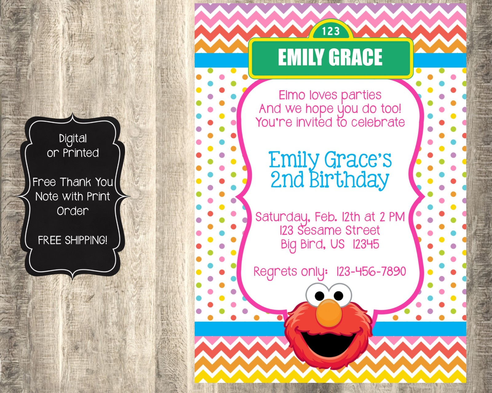 Elmo Picture Birthday Invitations - Ivoiregion