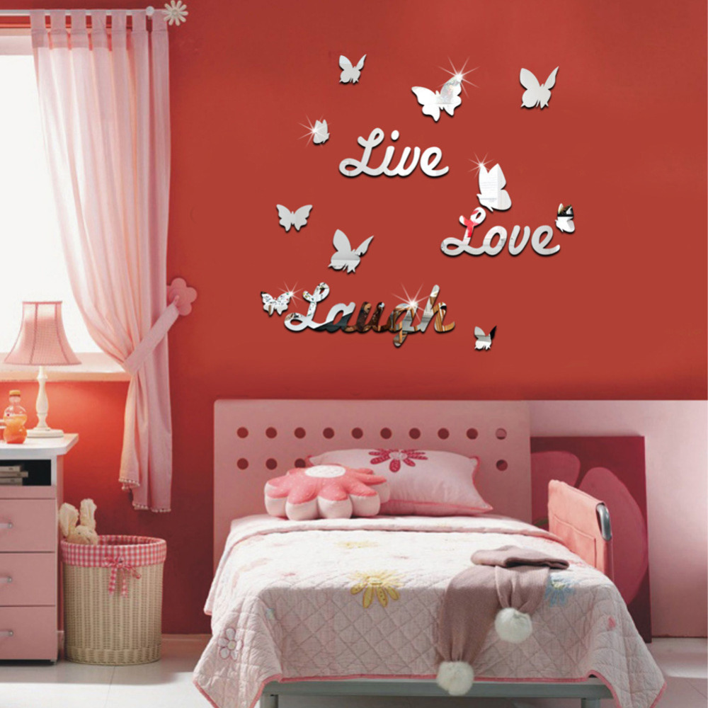 diy mirror butterfly live love laugh wall sticker home decorations live laugh love wall stickers quotes parkins interiors
