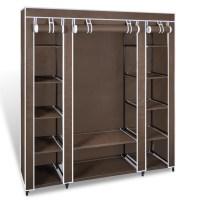 Brown Portable Closet Fabric Cabinet Storage Organizer ...