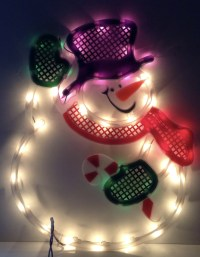 Christmas WAVING SNOWMAN Lighted Window Decoration Indoor ...