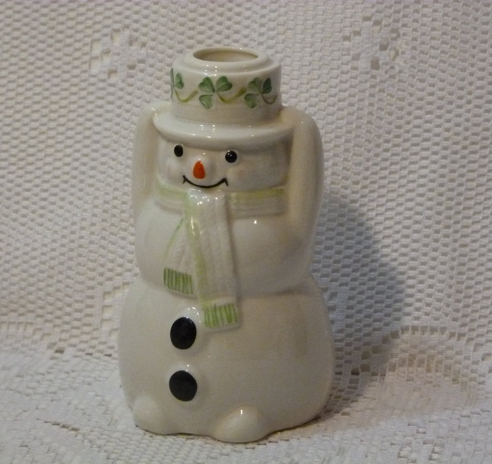 Belleek Pottery Ireland Snowman Taper Candle Holder 5