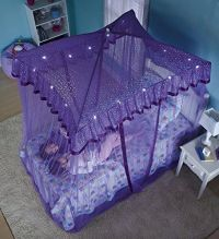 Bed Canopy Netting Mosquito Purple Sparkling Lights Girls ...
