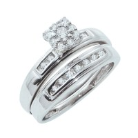 Sterling Silver His & Hers Diamond Engagement Wedding ...
