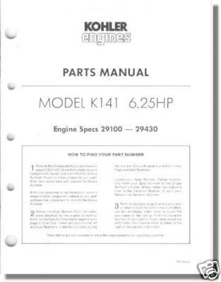 Parts Manual For K141 TP-1052-A New Kohler and 50 similar items