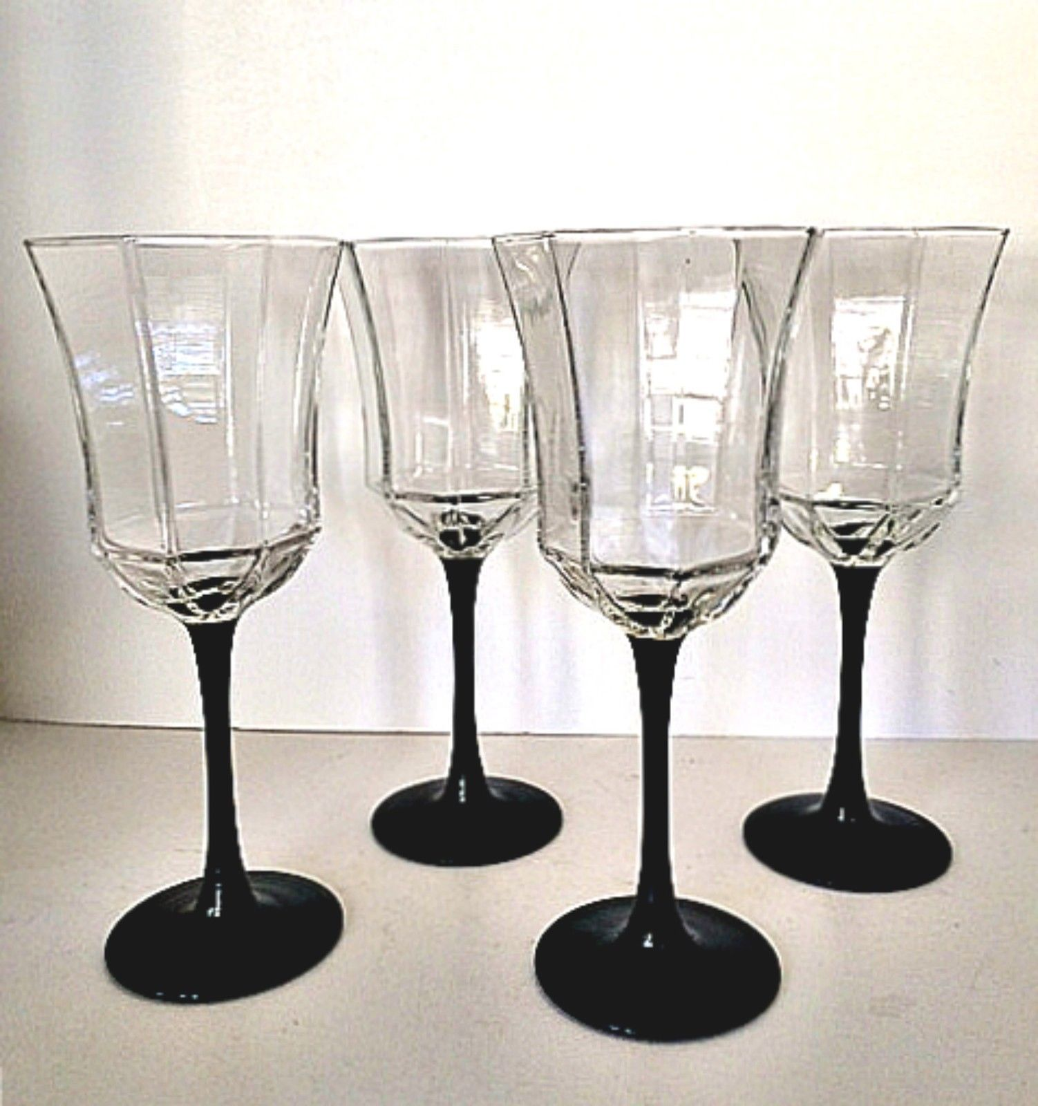 Wine Glasses With Black Stems Luminarc Arcoroc France Wine Water Glasses Crystal Octagon
