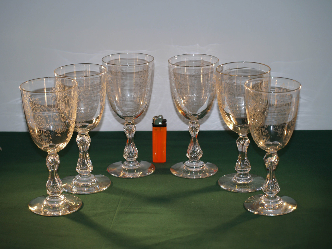 Crystal Stemware Wine Glasses A Set Of 6 Antique Crystal Cut And Etched Wine Glasses
