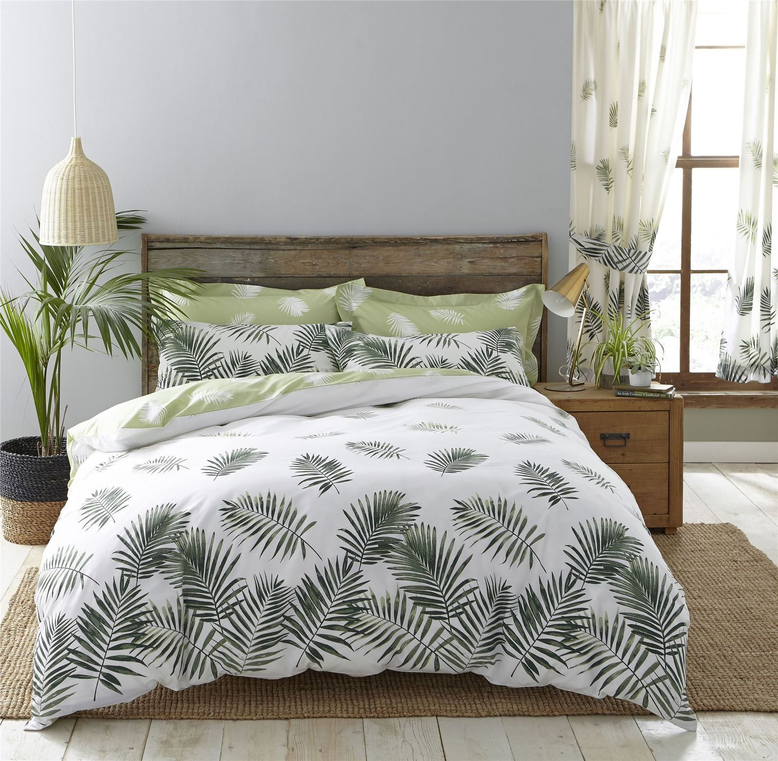 Home De Bleu Bettwäsche Large Fern Leaves Green White 144 Tc Cotton And 50 Similar Items