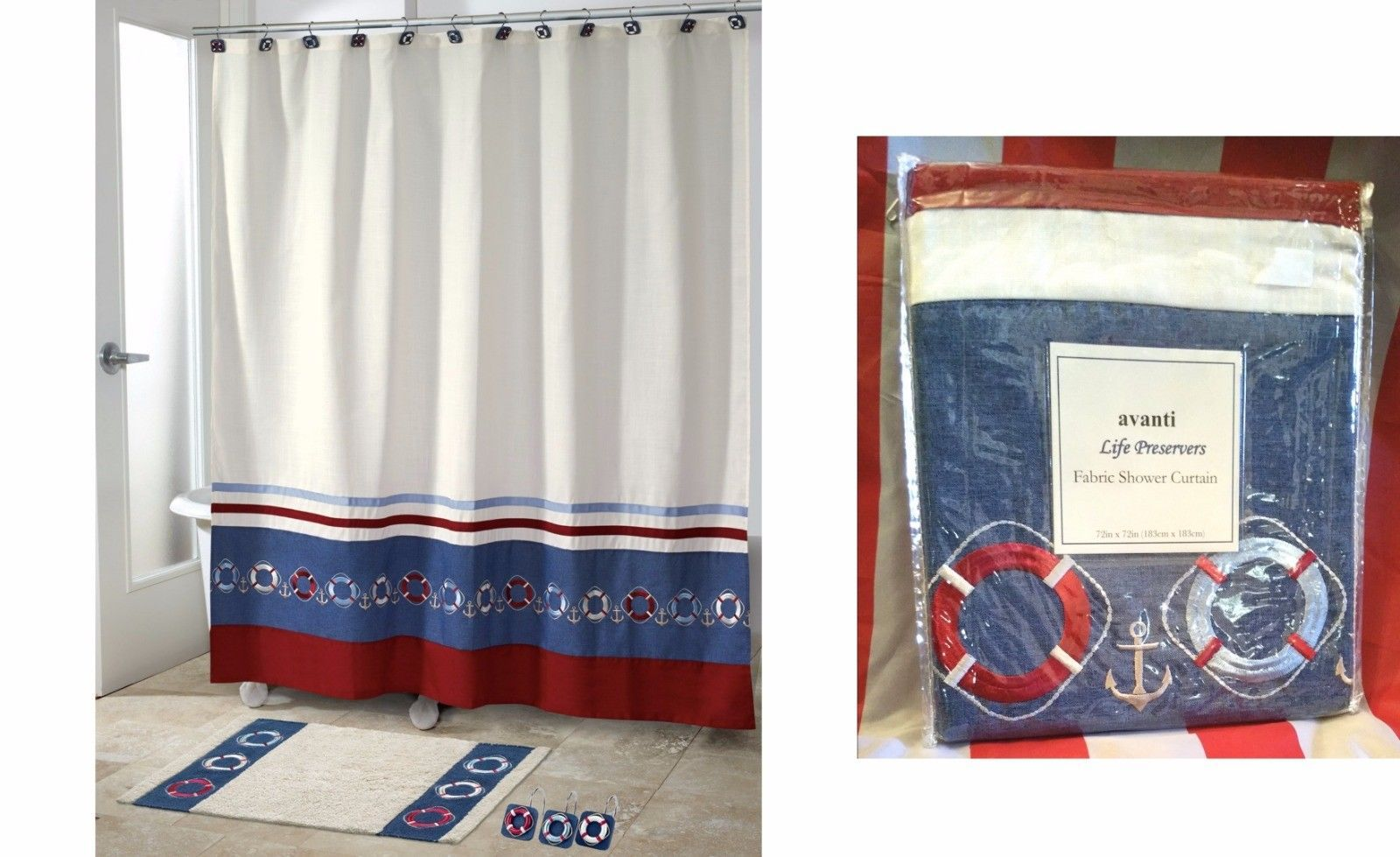 Nautical Fabric Shower Curtains Avanti Life Preservers Nautical Fabric And 18 Similar Items