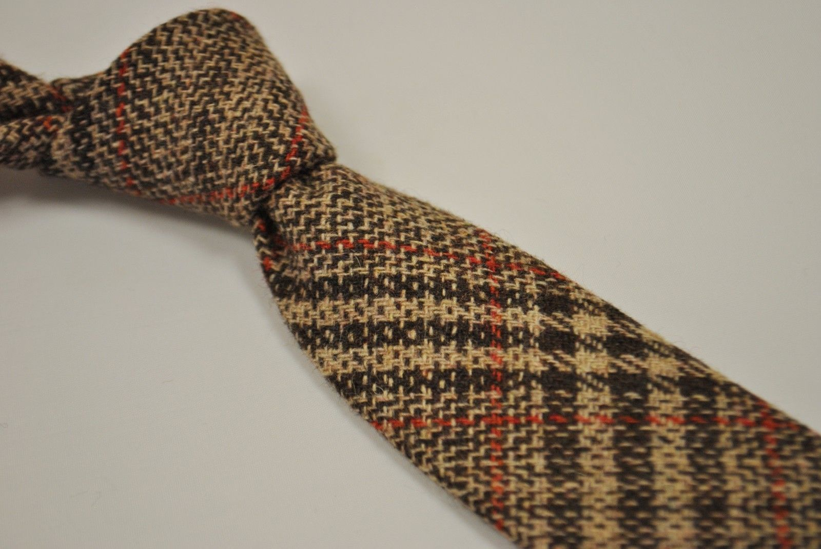 Frederick Thomas Two Tone Brown Red Check 100 Wool Tweed