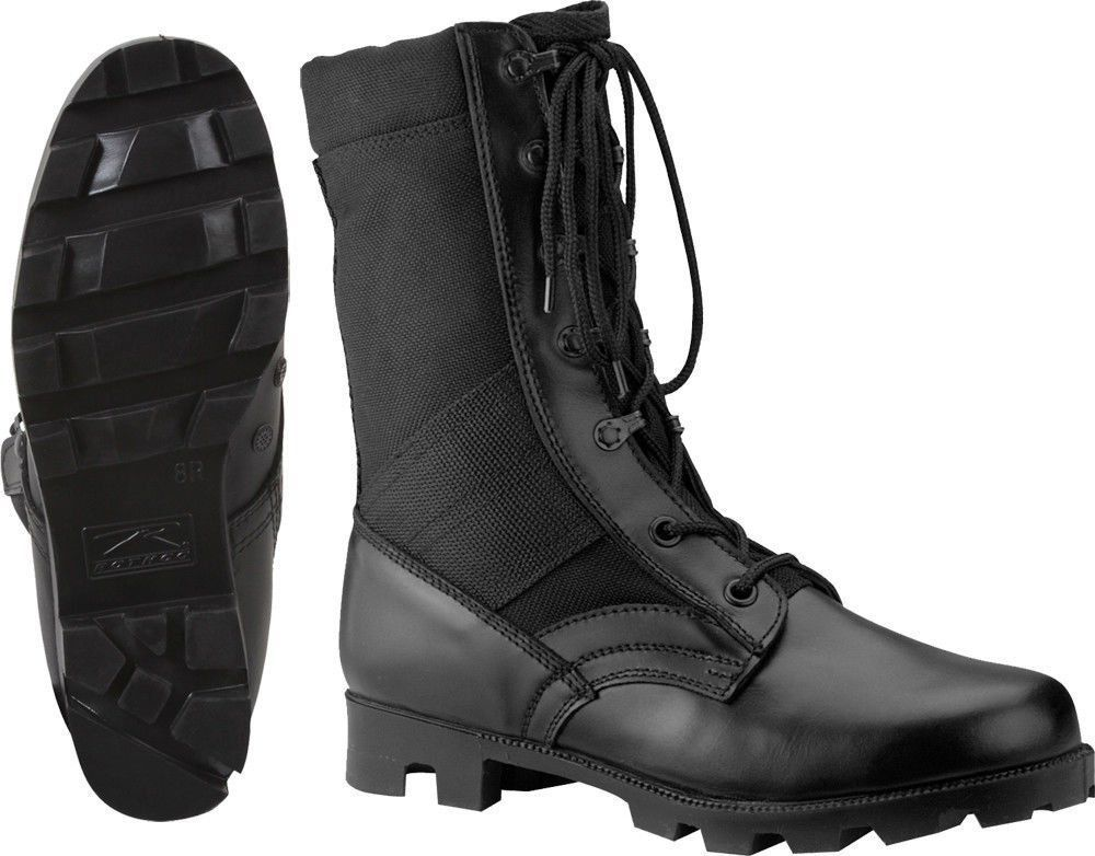 Kids Black Leather Speedlace Military Style Uniform Jungle