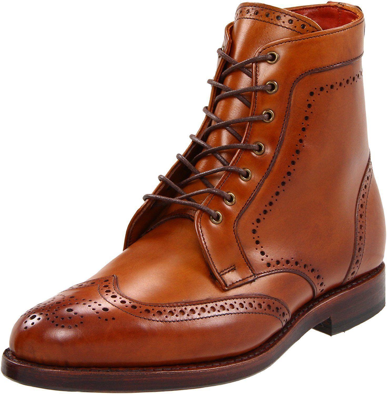 Men Tan Brown Wingtip Brogue Boots Men Lace Up Ankle