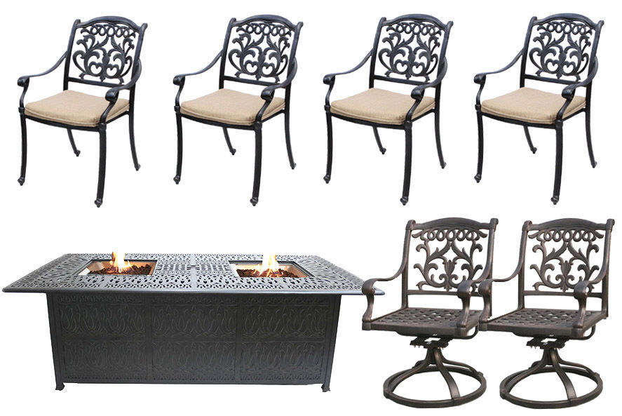 Propane Fire Pit Table Cast Aluminum Outdoor Patio