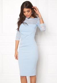 Goddiva Fitted Midi Dress Powder Blue - Bubbleroom