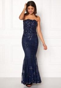 Goddiva Strapless Sequin Dress Navy - Bubbleroom