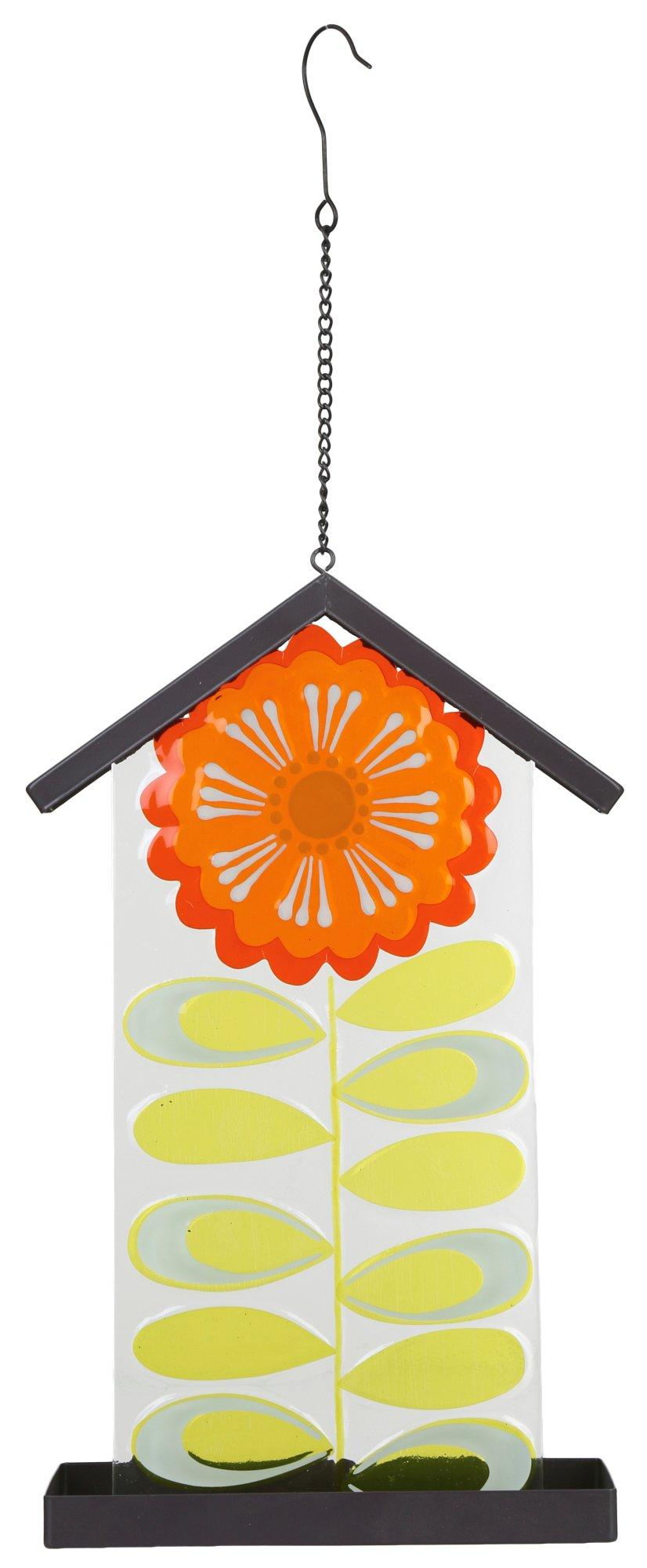 Glass Plate Hanger Glass Plate Flower Bird Feeder Orange