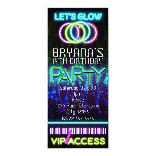 Glow in the Dark Neon VIP Birthday Party Ticket Invitations