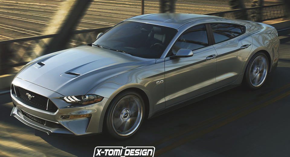 2018 Ford Mustang Sedan Takes A Fictitious Swing At Dodge Charger