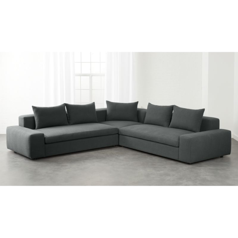Sofa Fabric Hs Code Arlo 3-piece Iron Grey Wide Arm Sectional Sofa | Cb2