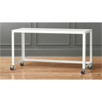 go-cart white rolling console table   CB2