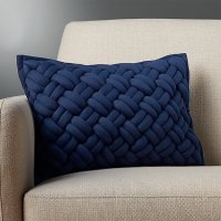 "18""x12"" jersey interknit navy pillow with down"