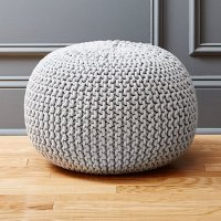 knitted silver pouf   CB2