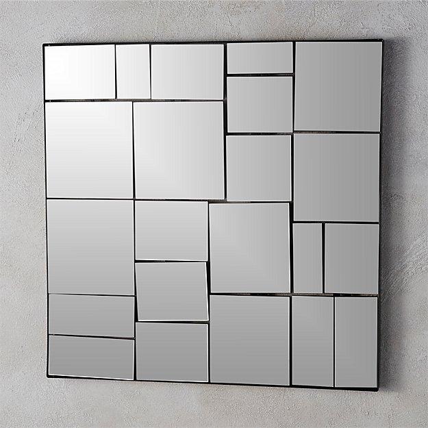 3d Grey Brick Wallpaper Perspective 24 25 Quot Wall Mirror Cb2