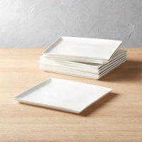 Tuck White Square Dinner Plates Set of 8 | CB2