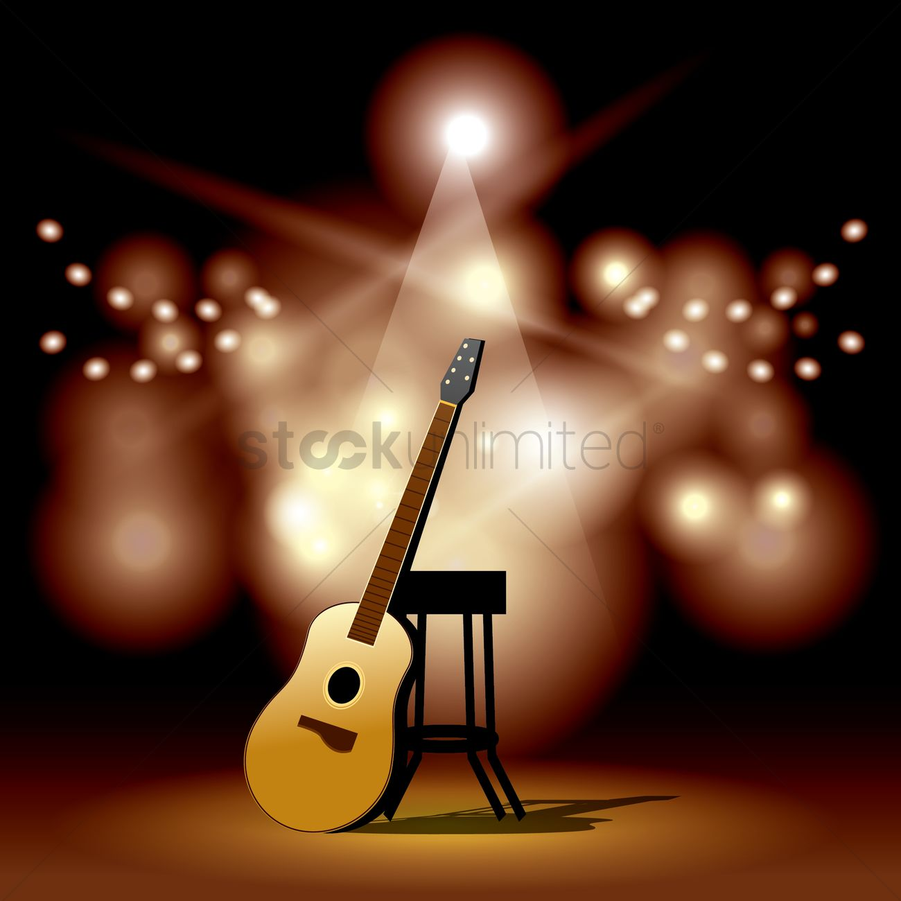 Guitar Stool Australia Acoustic Guitar And Stool On The Stage Vector Image 1920563
