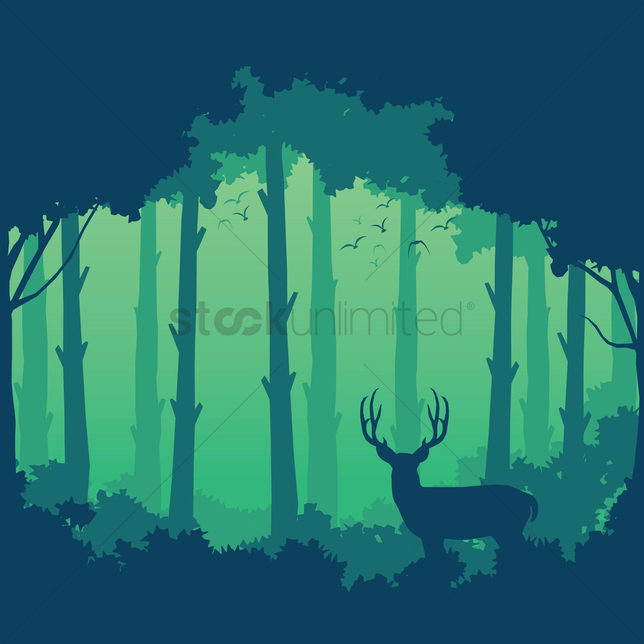 Jungle Animal Wallpaper Silhouette Of Deer And Forest Background Design Vector