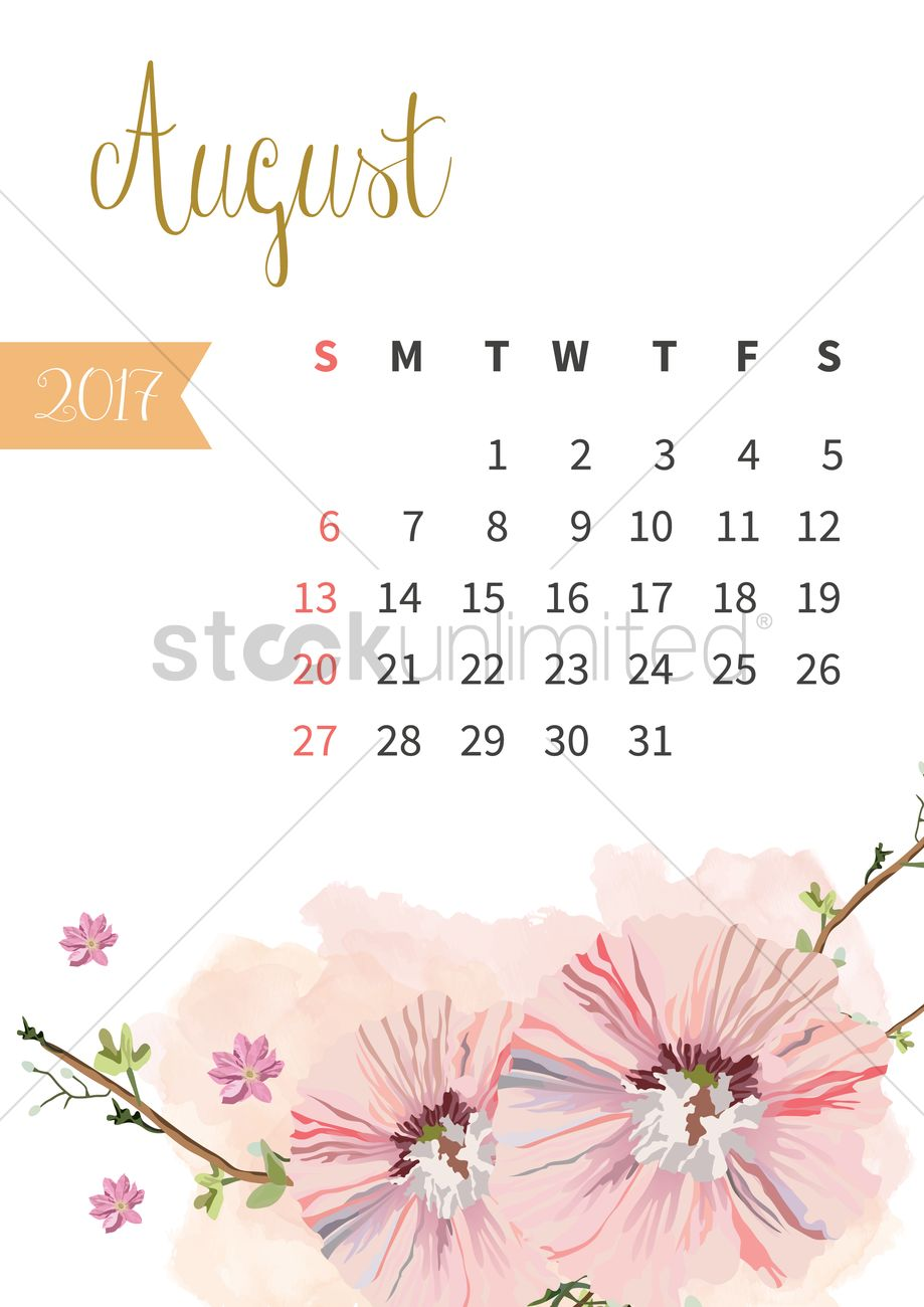 Cute November Calendar Wallpaper August 2017 Floral Calendar Vector Image 1940317