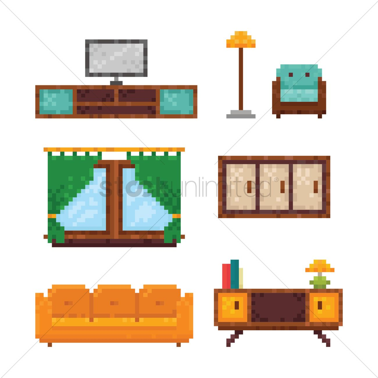 Sofa Set Vector Png Set Of Pixel Art Furniture Icons Vector Image 1958433