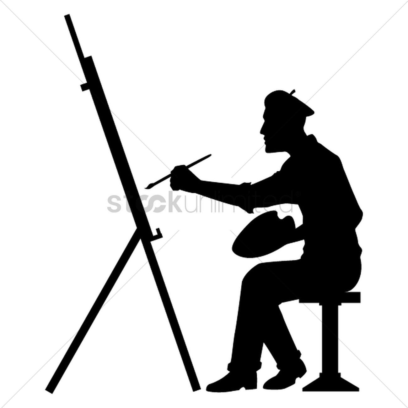 Silhouette Paintings Of People Silhouette Of Artist With Canvas Board Vector Image