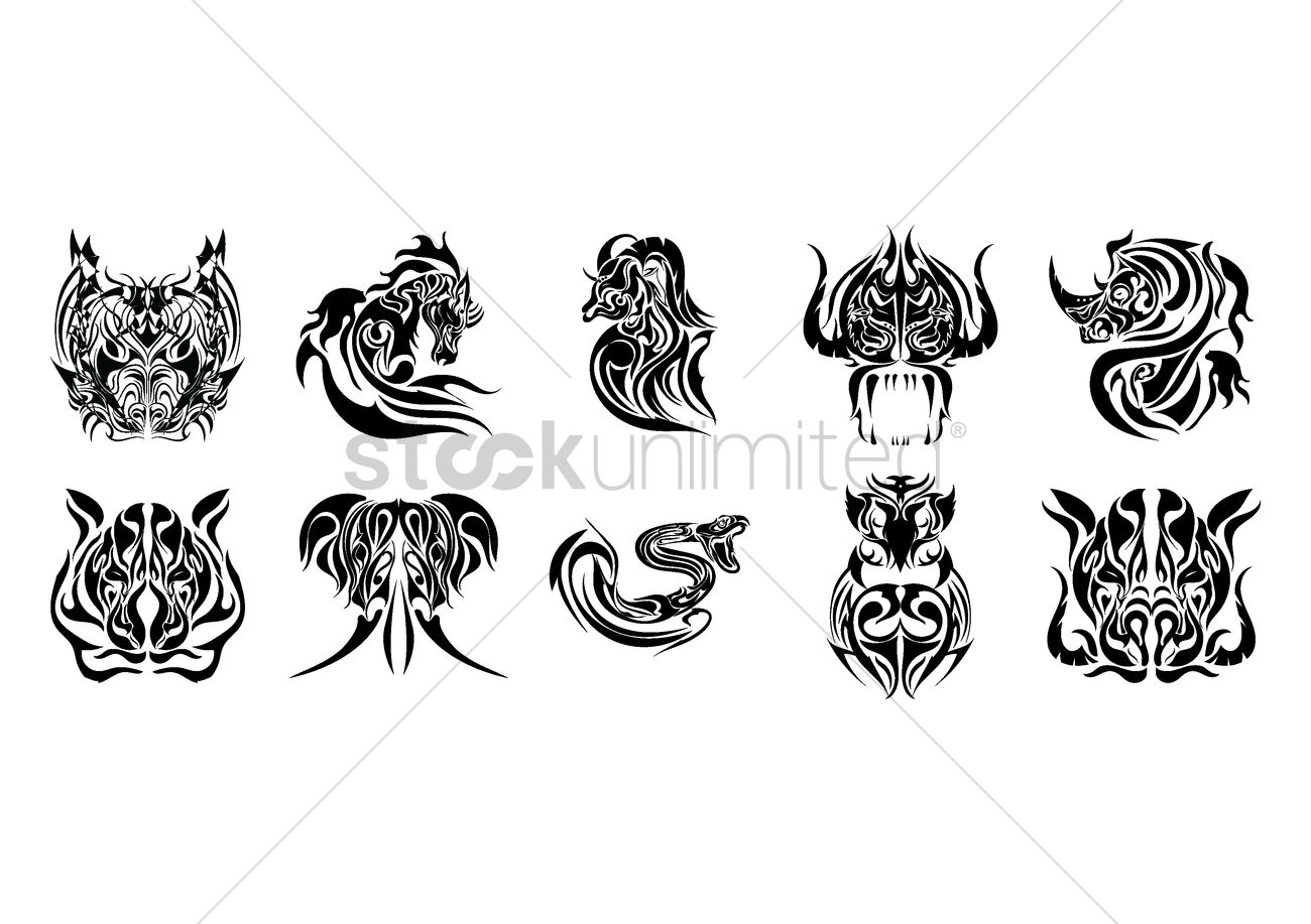 Animal Design Collection Of Animal Tattoo Design Vector Image 1433398