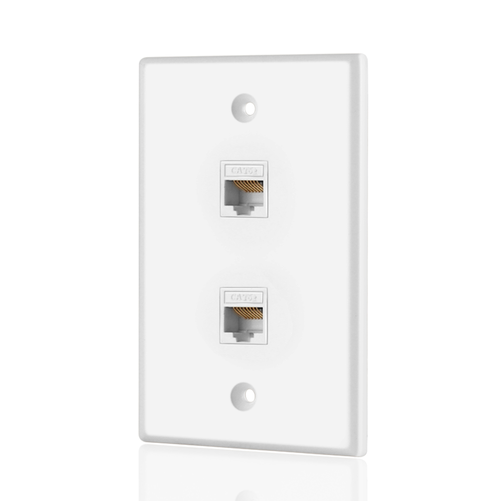 wall plate dual 2 port rj45 connector socket wiring plug jack