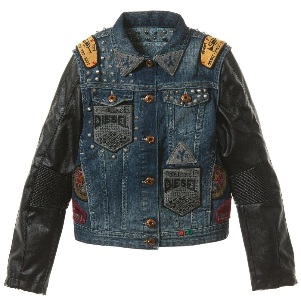 Baby Newborn Jumper Diesel Kids Boys Denim Leather 30th Anniversary Jacket